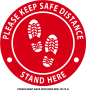 CS0002-KEEP SAFE DISTANCE RED- 12x12in