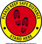 CS0003-KEEP SAFE DISTANCE RED-YELLOW - 12x12in