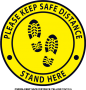 CS0004-KEEP SAFE DISTANCE YELLOW- 12x12in